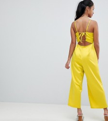 Fashion Union Petite Cami Jumpsuit With Tie Back In Satin - Yellow