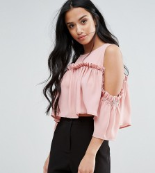 Fashion Union Petite Cold Shoulder Smock Top - Pink