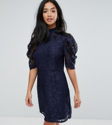 Fashion Union Petite High Neck A Line Dress In Lace - Navy