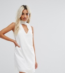 Fashion Union Petite High Neck Tunic Dress With Cut Out Front - White