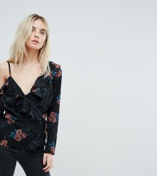 Fashion Union Petite Long Sleeve Top With Cami Cold Shoulder In Vintage Floral - Black