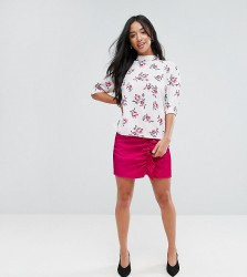 Fashion Union Petite Mini Skirt With Ruffle Gathers In Luxe Fabric - Pink