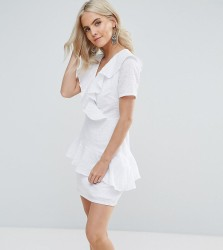 Fashion Union Petite Ruffle Detail Dress - White