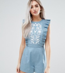 Fashion Union Petite Ruffle Detail Playsuit With Embroidery - Blue