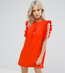 Fashion Union Petite Ruffle Detail Tie Front Shift Dress - Red