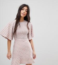 Fashion Union Petite Tea Dress With Ruffle In Check - Multi