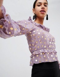 Fashion Union Prairie Top With Ruffles In Sheer Metallic Spot - Purple