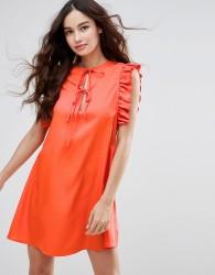 Fashion Union Ruffle Sleeve Dress - Red
