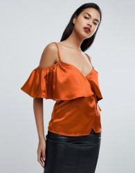 Fashion Union Satin Cold Shoulder Cami Wrap Top - Red