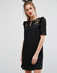 Fashion Union Short Sleeve Dress With Lace Panel And Tie Up Bow Neck - Black