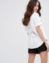 Fashion Union Short Sleeve Shirt With Open Back - White