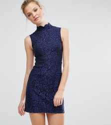 Fashion Union Tall All Over Lace Skater Dress - Navy
