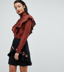Fashion Union Tall Check Shirt With Ruffle Layer - Red