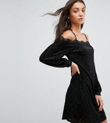 Fashion Union Tall Cold Shoulder Cami Dress In Leopard Burnout Velvet - Multi