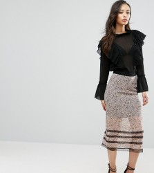 Fashion Union Tall Floral Printed Midi Skirt With Lace Trim - Multi