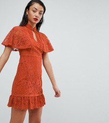 Fashion Union Tall High Neck All Over Lace Dress With Peplum Hem - Red
