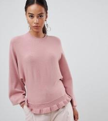 Fashion Union Tall Jumper With Pleated Hem - Pink