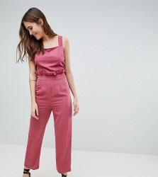 Fashion Union Tall Pinafore Jumpsuit With Tie Back - Pink