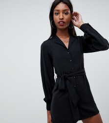 Fashion Union tall relaxed playsuit with collar detail - Black