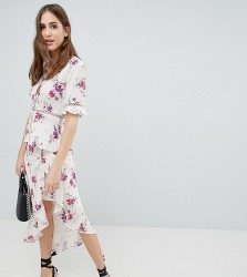Fashion Union Tall Tea Blouse With Ladder Inserts In Vintage Floral Co-Ord - White