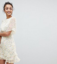 Fashion Union Tall Tea Dress In Pastel Floral - Multi