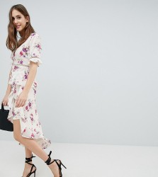Fashion Union Tall Wrap Skirt With Asymetric Ruffle Hem In Vintage Floral Co-Ord - White