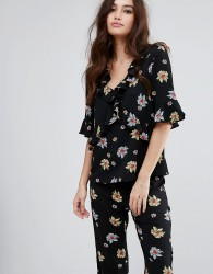 Fashion Union V Neck Top In Floral Co-Ord - Black