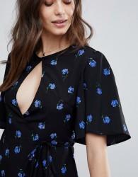 Fashion Union Wrap Tea Blouse In Vintage Floral Print - Blue