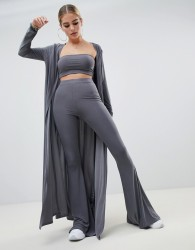 Fashionkilla maxi jacket Co-ord in grey - Grey