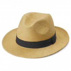 Fawler Piero Lys Tan Moda Panama Hat m. Marineblåt Bånd