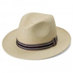 Fawler Piero Moda Panama Hat m. Stribet Bånd & Naturlige Farver