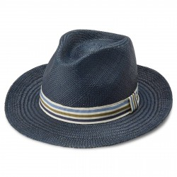 Fawler Pino Blå Moda Panama Hat m. Stribet Bånd