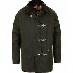 Fay Four Hook Luxury Oilskin Jacket Dark Green