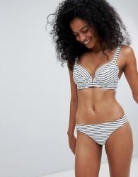 Figleaves Fuller Bust Cast Away plunge bikini top in stripe DD-G cup - White
