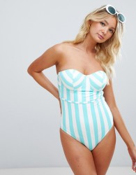 Figleaves Fuller Bust Stripe UW Bandeau Swimsuit with tummy control - Blue