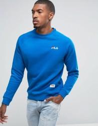 Fila Black Crew Neck Sweatshirt In Blue - Blue