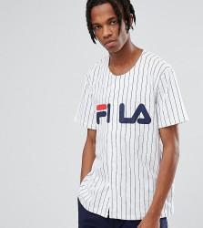 Fila Black Line Baseball T-Shirt With Logo In White - White
