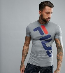 Fila Black Line Compression T-Shirt With Large Logo In Grey - Grey