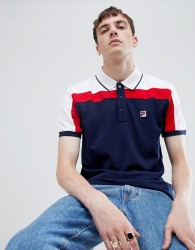 Fila White Line Spencer Short Sleeved Polo Shirt In Navy - Navy