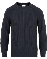 Filippa K Cotton Texture R Neck Sweater Dark Navy