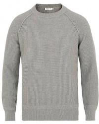 Filippa K Cotton Texture R Neck Sweater Grey Melange