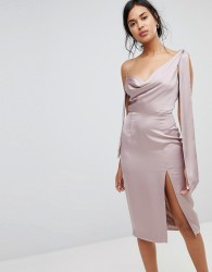 Finders Aspects Satin Feel Midi Dress - Silver