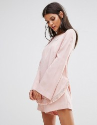 Finders Aster Flared Sleeve Top Co-ord - Pink