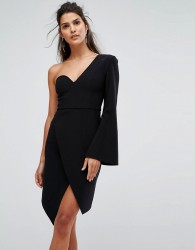 Finders Chances Structured One Sleeve Dress - Black