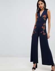 Finders Embroidered Floral Jumpsuit - Navy