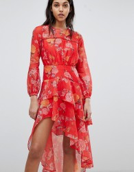 Finders Floral Printed Ruffle Dress - Red