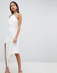 Finders Halter Neck Asysmetric Dress - White
