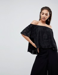 Finders Keepers Better Days Off Shoulder Ruffle Top - Black