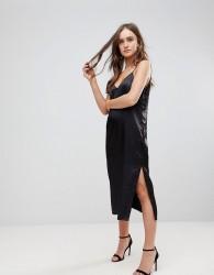Finders Keepers Claude Midi Slip Dress - Black