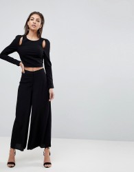 Finders Keepers Mateo Wide Leg Trousers - Black